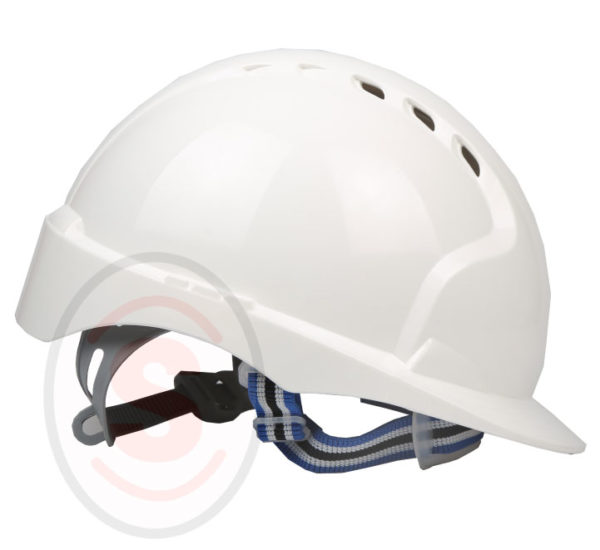 Vented White Hard Hat with Ratchet Suspension