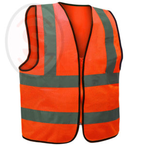 Reflective High Visibility Vest Knit Mesh Zipper Type