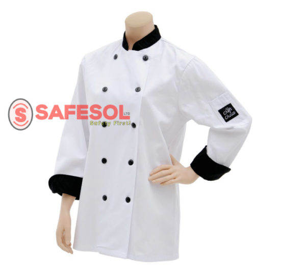 Traditional Fit Chef Coat - Fabric Covered Buttons - 100% Cotton
